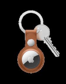 Apple Air Tag מחזיק מפתחות מעור בצבע  חום