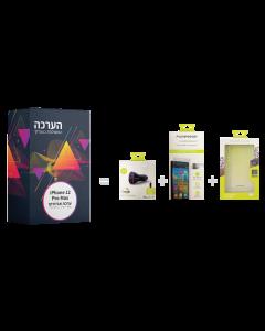 ערכת אביזרים ל iPhone 12 Pro Max כיסוי,מגן זכוכית ומטען לרכב