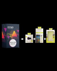 ערכת אביזרים ל iPhone 12 mini כיסוי,מגן זכוכית ומטען לרכב
